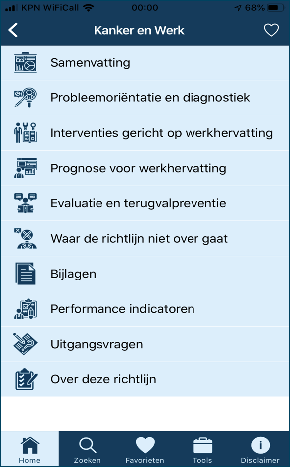 Startpagina NVAB-richtlijnen app Kanker en Werk